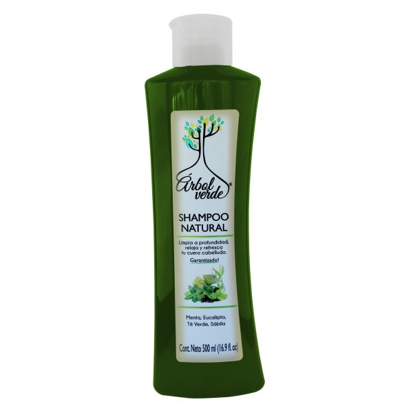 Shampoo Natural Refrescante Árbol Verde 500 ml.